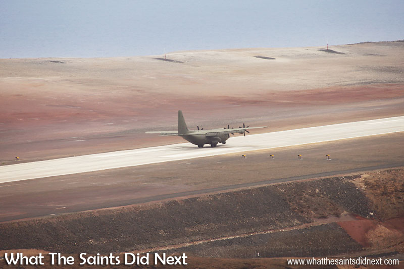 On the ground at 13:24, Sunday 18 December, 2016. RAF, C-130J Hercules at St Helena Airport.