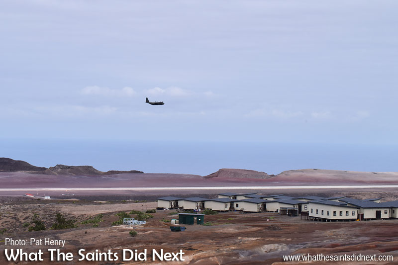 The fly over on the first pass from Bradley's, photographed by Pat Henry. RAF, C-130J Hercules at St Helena Airport.