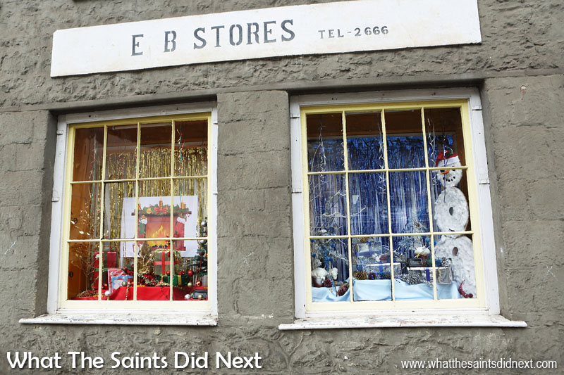 Shop Windows - Christmas on St Helena If Frozen's Olaf snowman were real he'd melt inside this shop window, Christmas falls in the summer season on St Helena.  Christmas in the southern hemisphere looks a lot different to scenes depicted on the greeting cards we buy in shops.  Photo: 2016 window