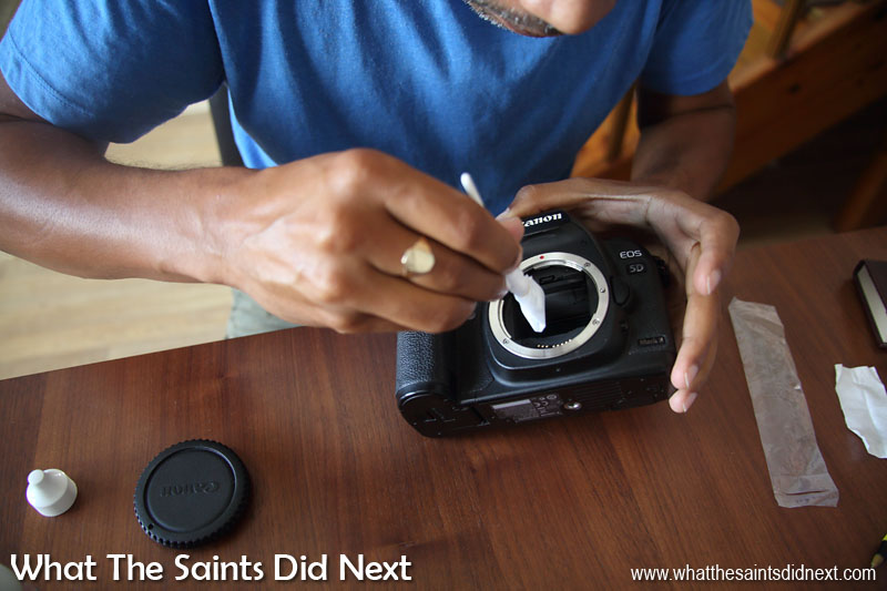 St Helena's isolation means people learn to repair all types of equipment that would normally be done by specialist technicians. For photographers this means having to clean the camera sensor when a dust spot shows up. Another hidden aspect of photo-blogging from St Helena.