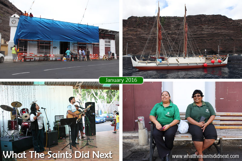 St Helena 2016: The Year In Review - January Clockwise from top left: The Market in Jamestown undergoing renovation and upgrade works. The Hawaiian vessel 'Hokulea' visits, using traditional navigation methods to travel. Thorpe's staff on a break in Jamestown. Friday afternoon live music at the Mule Yard bar in Jamestown.