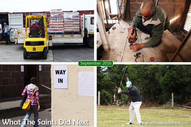 St Helena 2016: The Year In Review - September Clockwise from top left: Ship day cargo being unloaded at the wharf in Jamestown. Roddy Yon climbs to the top of St James bell tower every week to keep the historic clock ticking along. Larry Legg on his way to winning the 2016 golf open tournament. Second bye-election of the year, polls open.