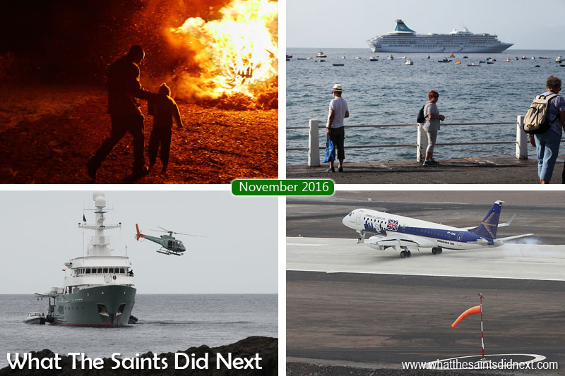 St Helena 2016: The Year In Review - November Clockwise from top left: Bonfire night, 5 November, in Sandy Bay. Cruise ship Artania calls at St Helena. Brazilian aviation company, Embraer, arrives on St Helena. Luxury motor yacht, Karima, at anchor off Mundens, Jamestown.