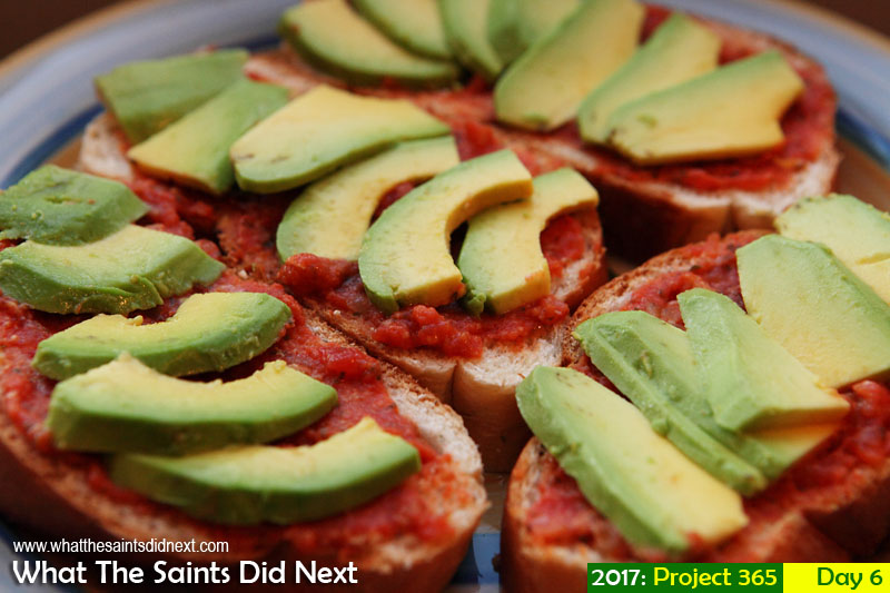 'Terminal 2' 6 January 2017, 18:58 - 1/60, f5.6, ISO-800 What The Saints Did Next - 2016 Project 365. St Helena tomato paste (bread and dance) with avocado.