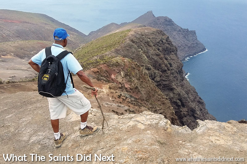 My dad, Pat, taking in the spectacular coastal view and sussing out the route along the top of the cliff. Sugar Loaf Post Box walk, St Helena.