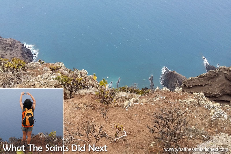 Sugar Loaf Post Box walk, St Helena. Sharon's camera phone shot over the edge of Sugar Loaf Ridge.
