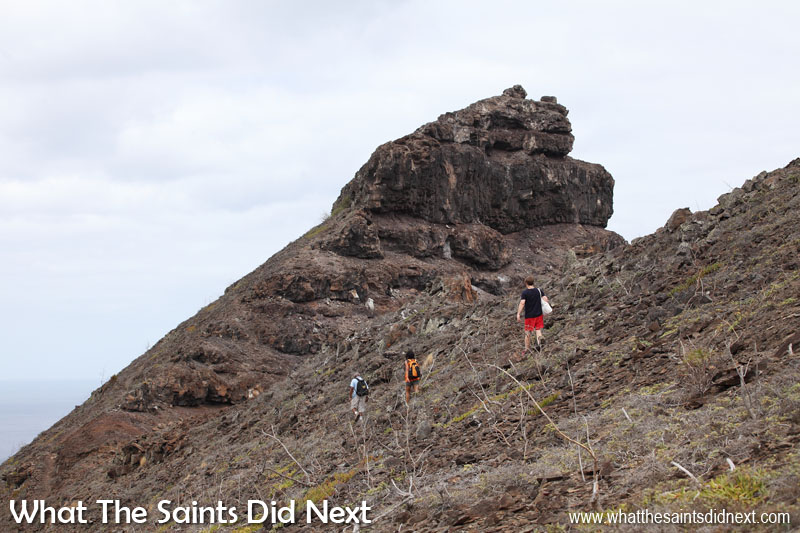 Two hours to reach the base of Sugar Loaf, now the ascent begins. Sugar Loaf Post Box walk, St Helena.