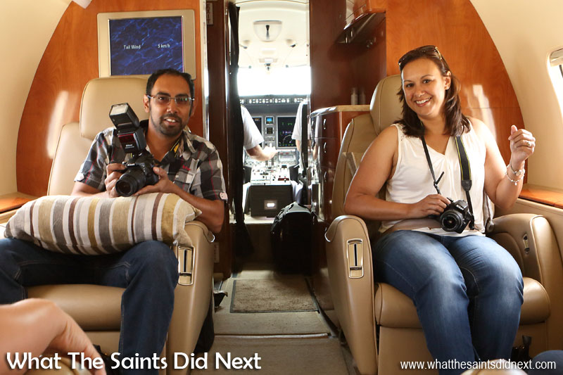 Simon Benjamin and Clare Harris. Flying from St Helena Airport.