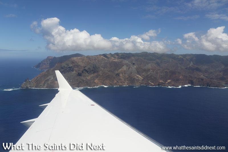 Minute 8 - We are now on the very south side of the St Helena, with an aerial view of the volcanic coastline of Sandy Bay. Lot's Wife's Ponds can be found just to the right of centre. Flying from St Helena Airport.