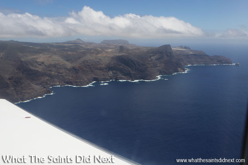 Minute 9 - Flight around the island nearly complete. The runway just becoming visible again behind the rising, wedge shape of Great Stone Top. Flying from St Helena Airport.