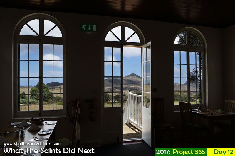 'Kill switch' 12 January 2017, 11:49 - 1/400, f8, ISO-200 What The Saints Did Next - 2016 Project 365. View of Flagstaff, from inside Bertrand's Cottage, Longwood, St Helena.