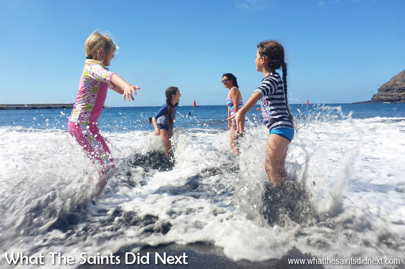 Things To Do With Kids On St Helena - Playing in the surf at Rupert's Beach.