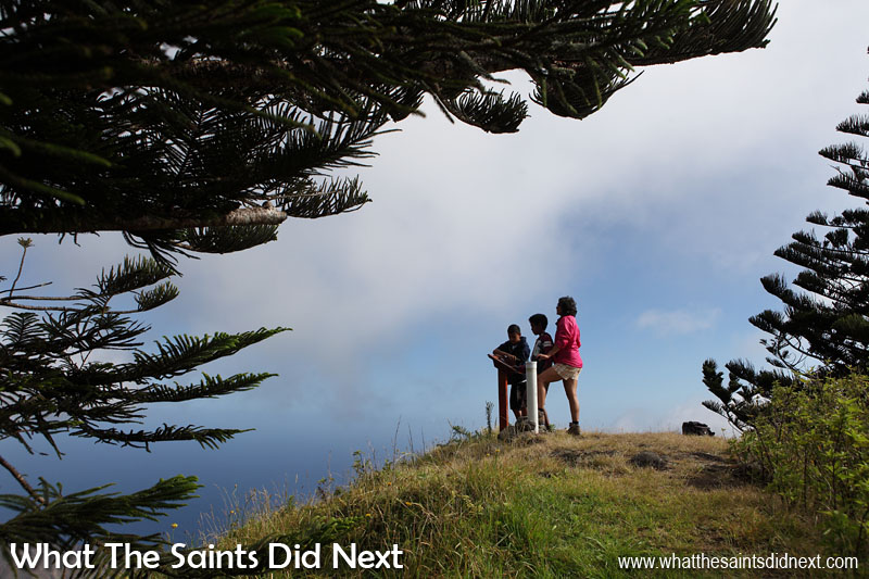 Things To Do With Kids On St Helena - The post box and information board at the top of High Peak, with Evan and Jacob.