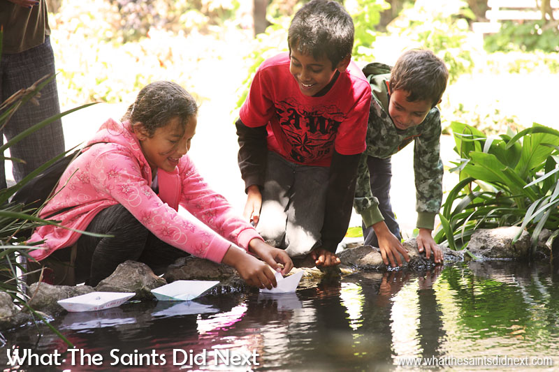 Things To Do With Kids On St Helena - Another activity to try in the school holidays, floating paper boats in the Castle Gardens pond.