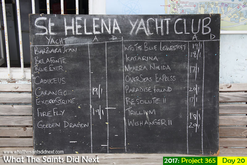 'President Trump' 20 January 2017, 12:37 - 1/125, f8, ISO-200 What The Saints Did Next - 2016 Project 365. Arrivals/departures board at the St Helena Yacht Club for the World Arc Rally.
